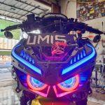 Custom lampu honda vario led new dengan double proji hid plus drl alis sen running AE Cob
